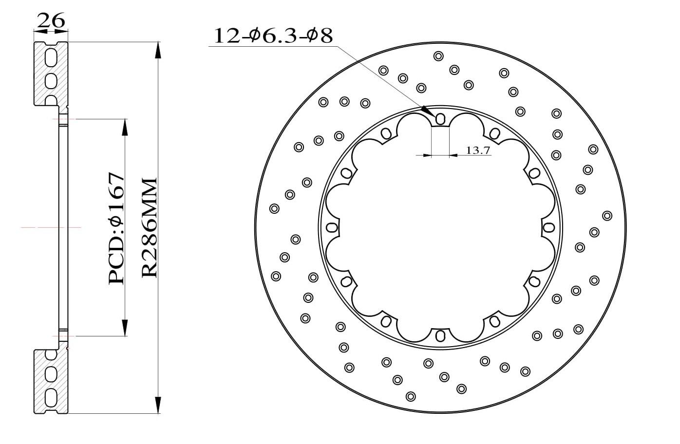 Tarcze hamulcowe nawiercane do zestawu Big Brake 286mm 2009+ - GRUBYGARAGE - Sklep Tuningowy